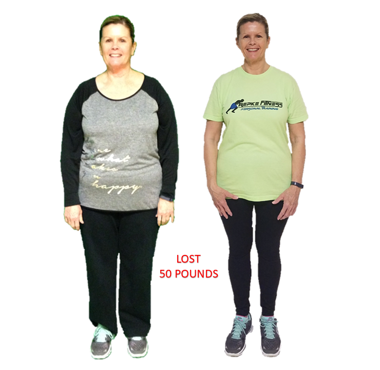 Terri, Repke Fitness Personal Training client who lost 50 pounds