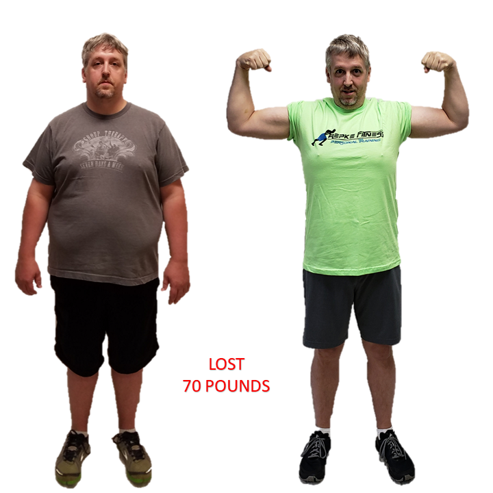 Greg, Repke Fitness client who lost 70 pounds and can now do 3 pull-ups