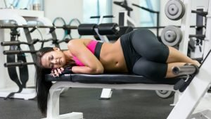 woman asleep at the gym